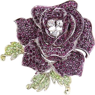 EVER FAITH Womens Austrian Crystal Bridal 2 Rose Flower Plant Brooch for Bride Sister Women