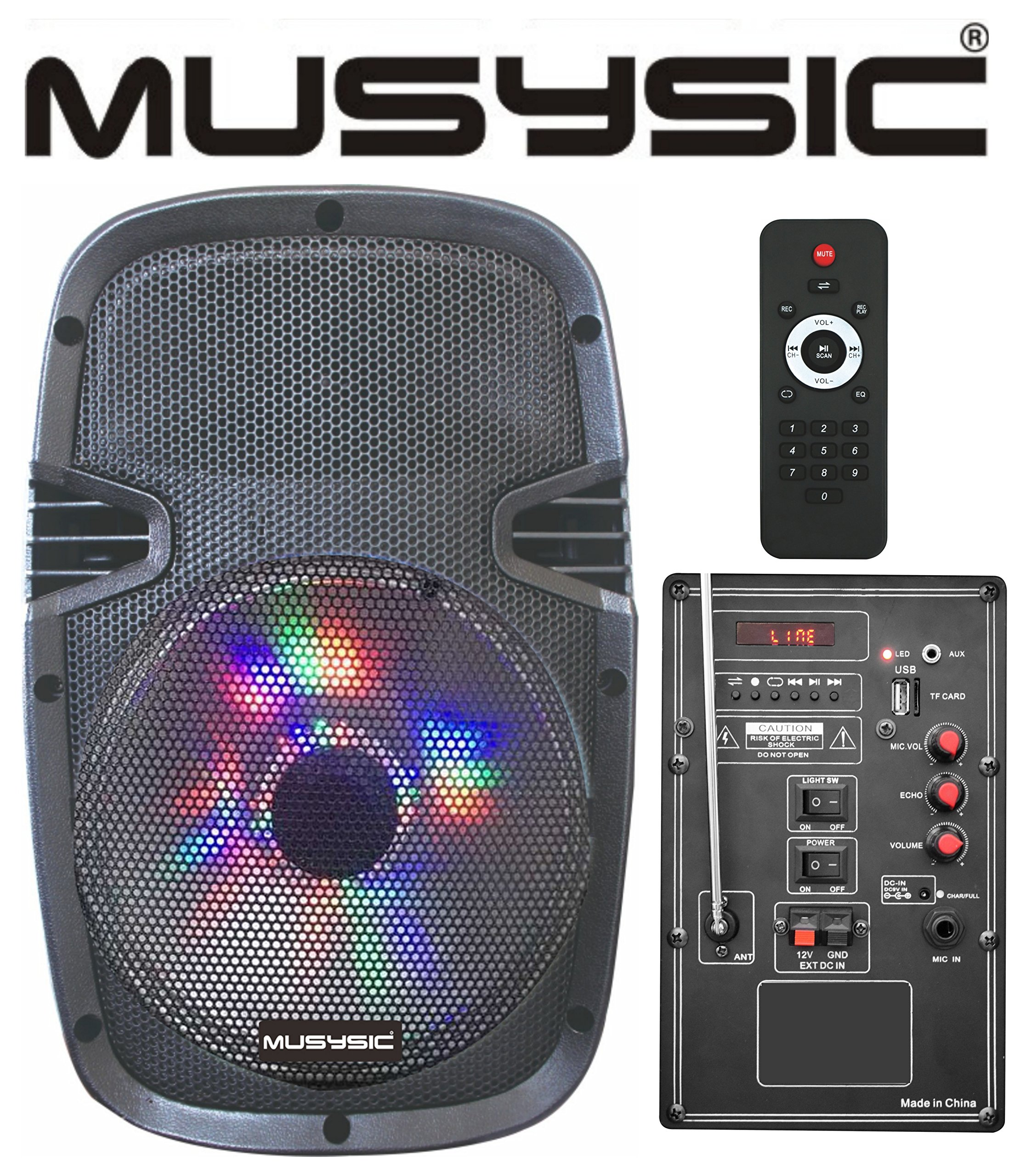 MUSYSIC Portable 10'' Powered Speaker System Bluetooth/USB/SD/FM/AUX/Rechargeable battery/LED Light MU-10A