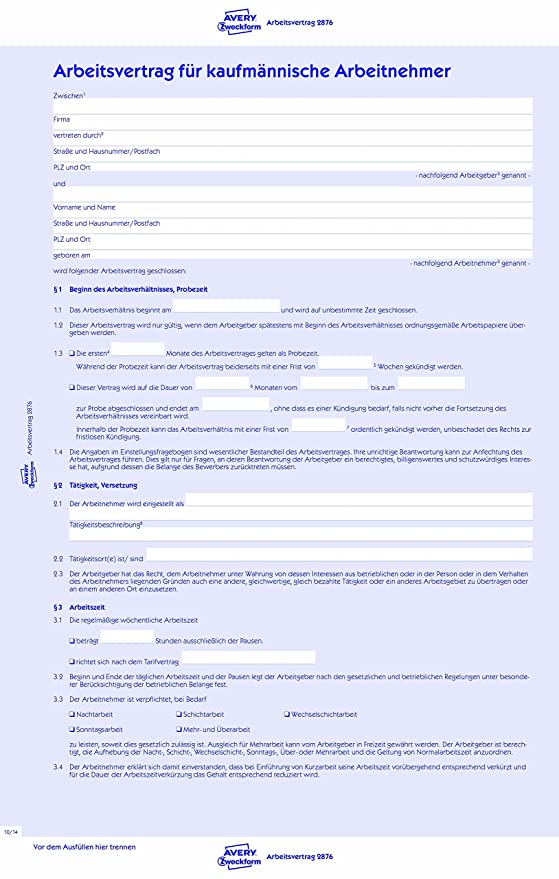 Avery Zweckform 2876 Arbeitsvertrag Din A4 Für Kaufm Arbeitnehmer