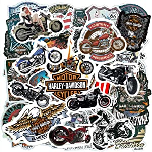 Motorcycle Mens Adults Sticker Pack(100-pcs), Halley Davidson Bumper Stickers for Moto Laptop Skateboard ATV Car Bike