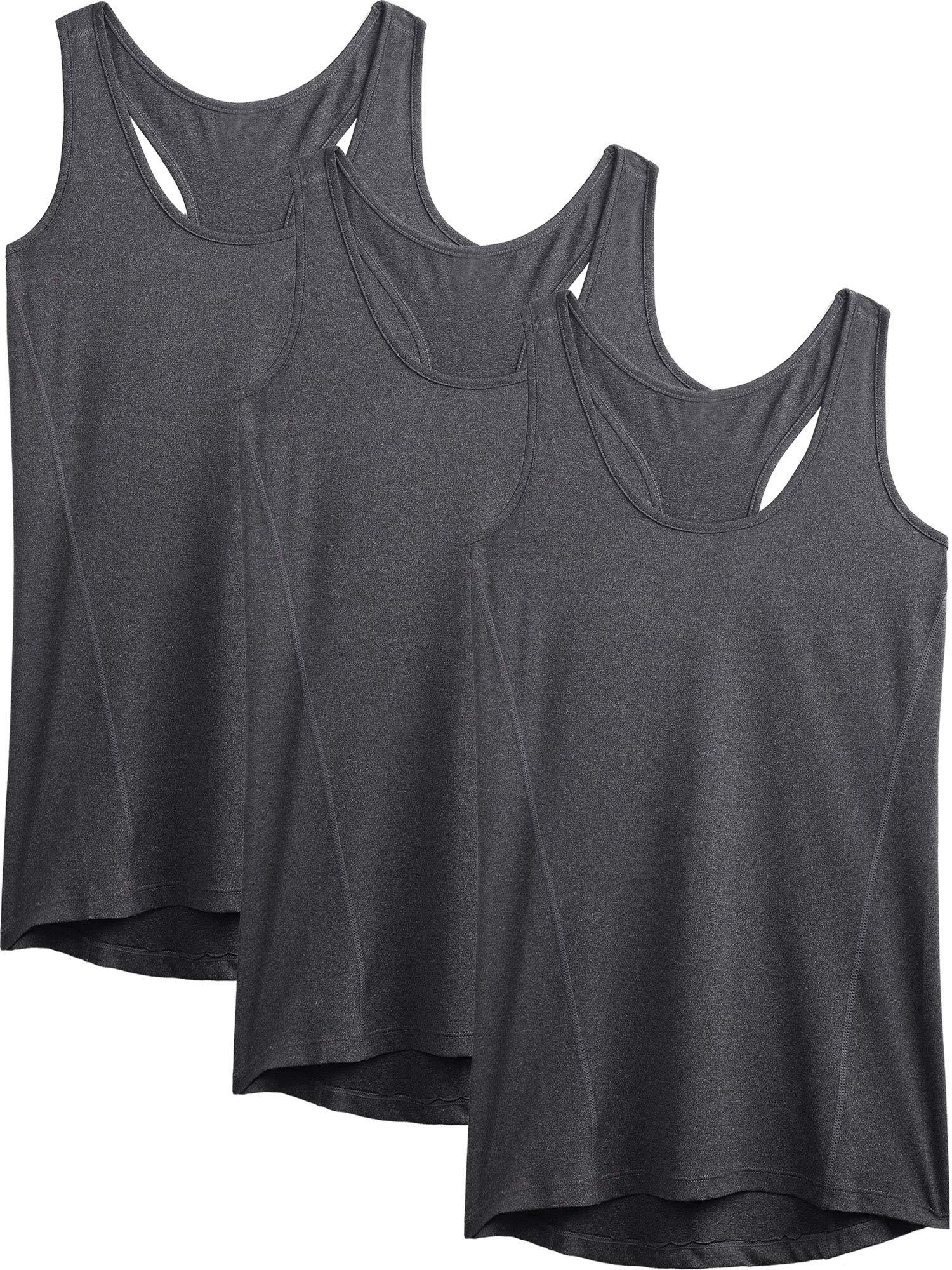Neleus Workout Running Racerback Long Tank Top for Women,8006,3 Pack,Grey,XL,EU 2XL by Neleus