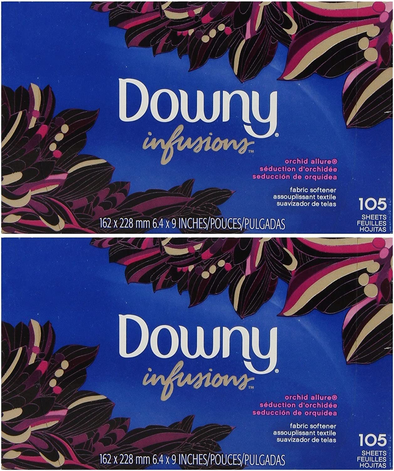 Downy Ultra Infusions Orchid Allure Sheet Fabric Softener, 105 Count (Pack of 2)