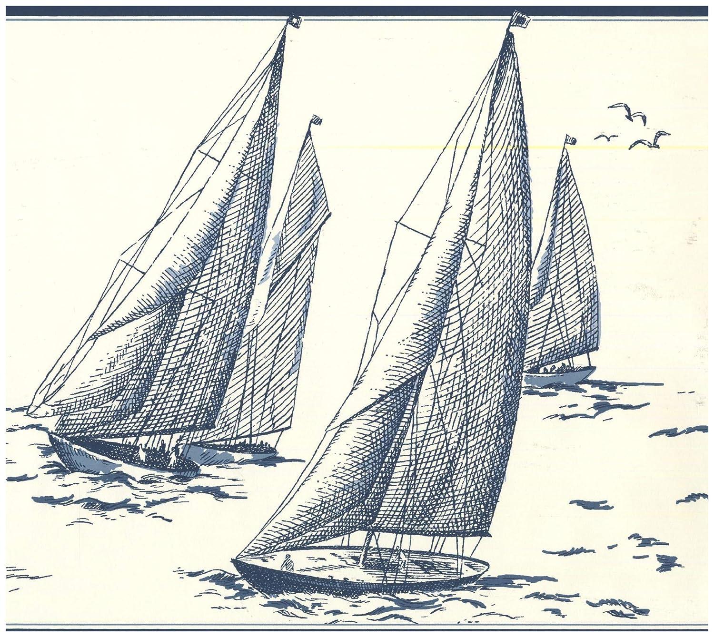 Prepasted Wallpaper Border - Sail Boats in Sea Sketch Porcelain White Nautical Wall Border Retro Design, Roll 15 ft. x 9 in. - - Amazon.com