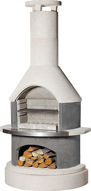 Buschbeck – Set Barbacoa Chimenea Wellington con Socket de Elevador, Color Blanco/Antracita, 70 x 115 x 228 cm: Amazon.es: Jardín