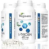 L-Tyrosine | 120 Capsules - 470mg chacune | Acide aminé essentiel pour les sportifs | Augmente la concentration - Réduit la fatigue | Sans Gélatine et Sans Additifs | Vegan par Vegavero | 1 Boite