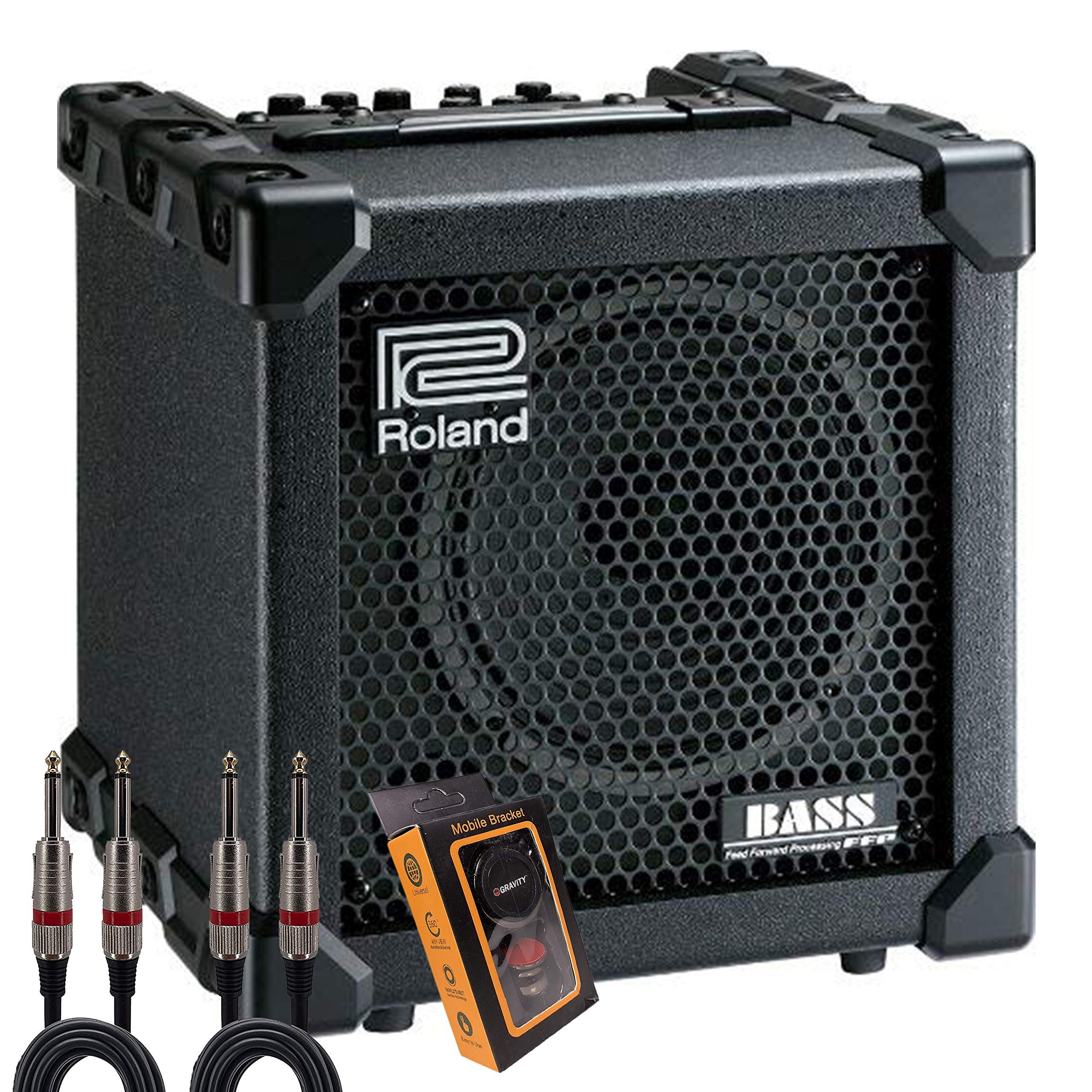Roland CUBE-20XL 20-Watt 1x8-Inch Bass Combo Amp + Cable Starter Pack with Magnet Phone Holder QTQ+M by Roland