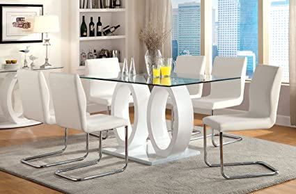 Merveilleux Furniture Of America Quezon 7 Piece Glass Top Double Pedestal Dining Set,  White