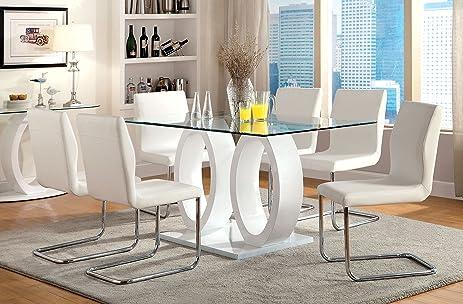 Amazon.com - Furniture of America Quezon 7-Piece Glass Top Double ...