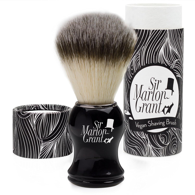 Sir Marlon Grant Brocha de Afeitar Vegan–PREMIUM imitación pelo de tejón en aspecto de madera ébano–100% Brocha de Afeitar (vegana 23-015-1