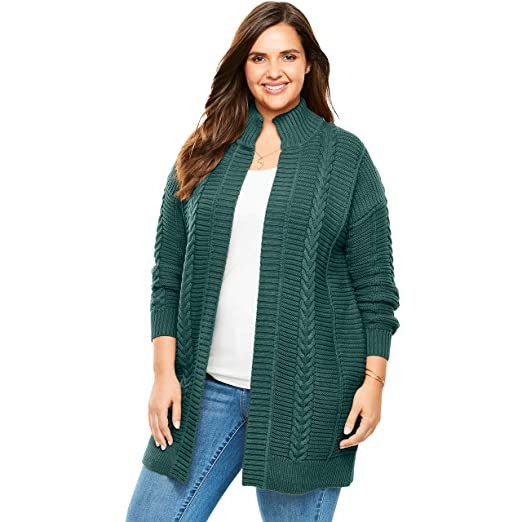 8e70c869cad163 Woman Within Women's Plus Size Chunky Knit Cardigan - Dark Pine, 14/16 at  Amazon Women's Clothing store: