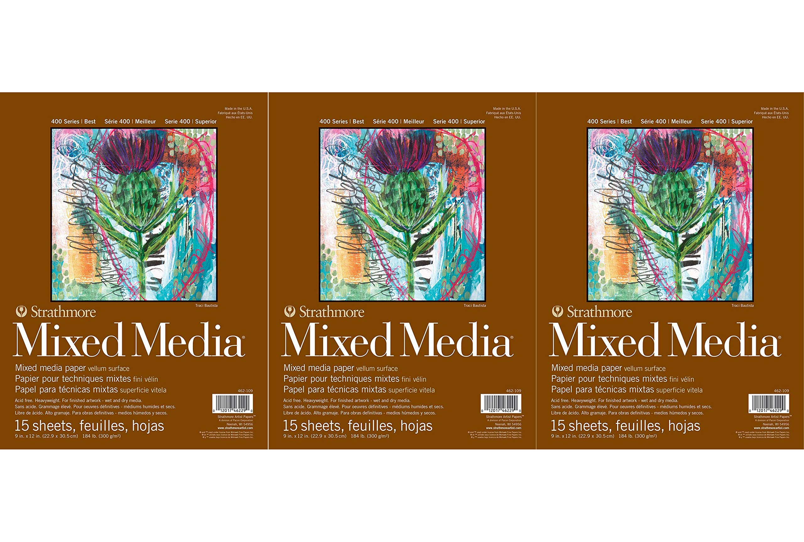 Strathmore 400 Series Mixed Media Pad, 9''x12'', White, 15 Sheets (Тhree Pаck) by Strathmore