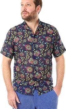 LailaAda by Cacala Cannes Camisa de Playa con Botón Arriba para Hombre, Cuello Corto, Algodón Fresco, Patrón Floral: Amazon.es: Deportes y aire libre