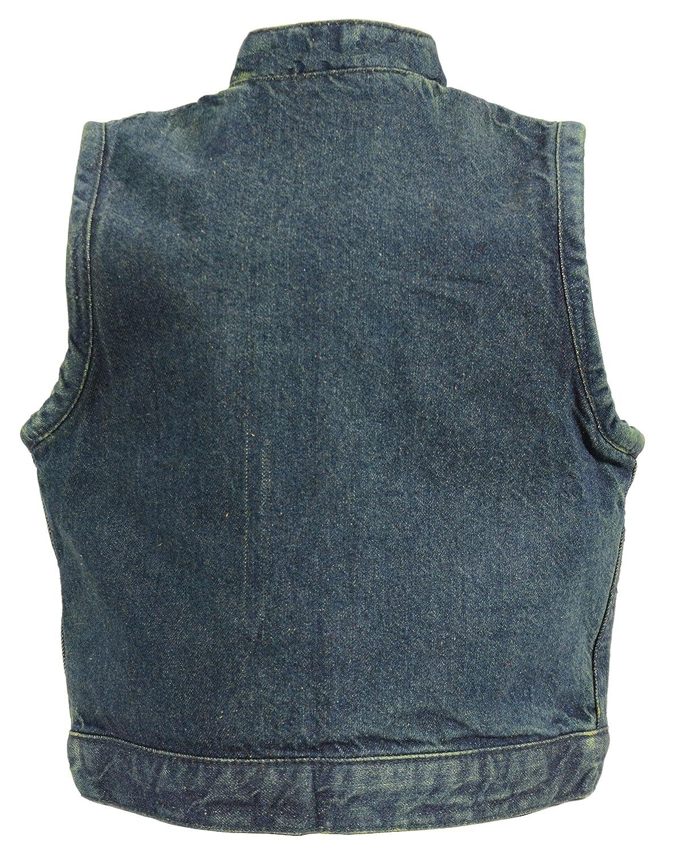 MDK3920-BLU-MD Milwaukee Performance Denim Unisex-Child Kids Club Style Snap Front Vest Blue, Medium