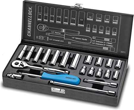 Drive SAE//Metric Socket Set Channellock 22-Piece 1//4 In