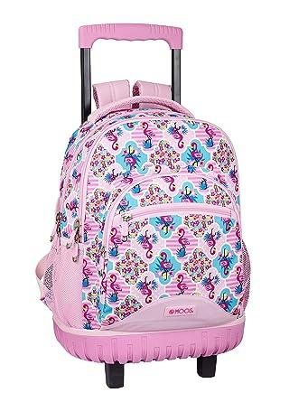 Moos Flamingo Pink Oficial Mochila Escolar Grande Con Ruedas 320x140x460mm: Amazon.es: Ropa y accesorios