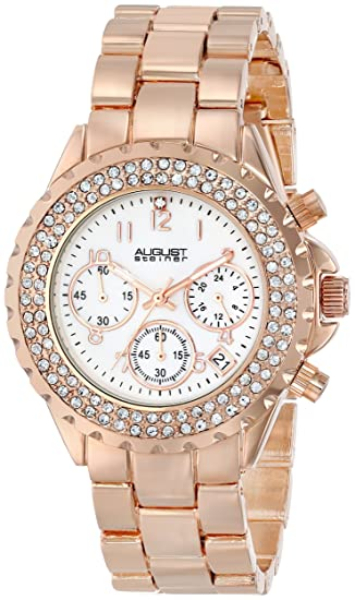 Amazon.com: August Steiner Womens AS8031 Crystal Mother-Of-Pearl Chronograph Bracelet WatcH (Rose Gold): August Steiner: Watches