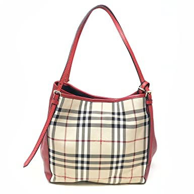 65b0cbe2ead1 Burberry Women s Small Canter in Horseferry Check and Leather Beige Red Trim