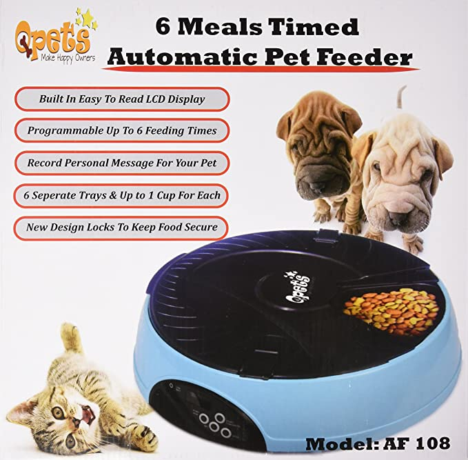 Pet Supplies Qpets 6 Meal Automatic Pet Feeder Pet Self Feeders