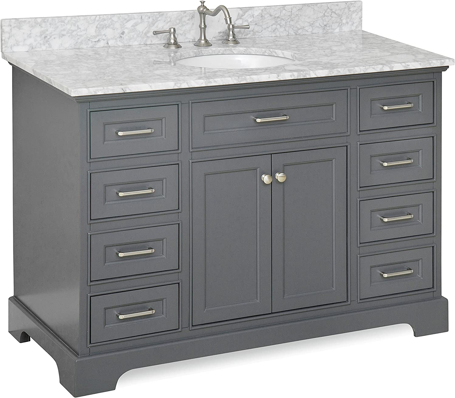 Amazon Com Aria 48 Inch Bathroom Vanity Carrara Charcoal Gray Includes Charcoal Gray Cabinet With Authentic Italian Carrara Marble Countertop And White Ceramic Sink Home Improvement