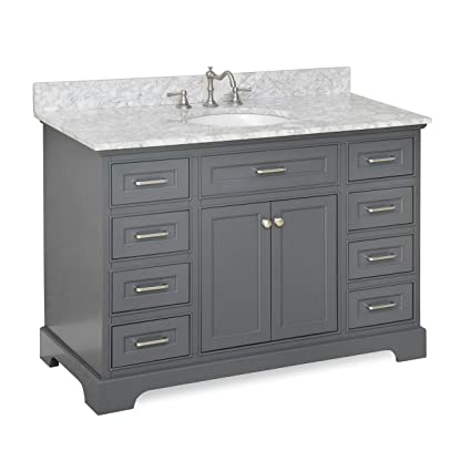 Aria Bathroom Vanity CarraraCharcoal Gray Amazoncom - 48 gray bathroom vanity