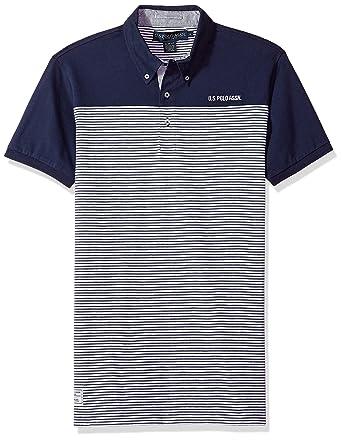 U.S. Polo Assn. Mens Short Sleeve Slim Fit Fancy Jersey Polo ...