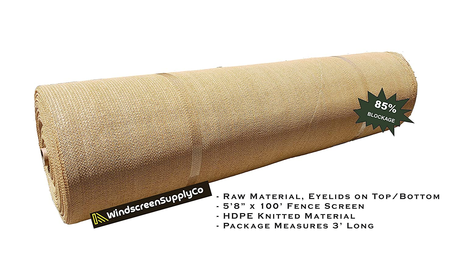 WindscreenSupplyCo 5 8 X 100 Shade Fabric Roll Sunblock Shade Cloth, 85 UV Resistant Mesh Netting Cover 1, Tan