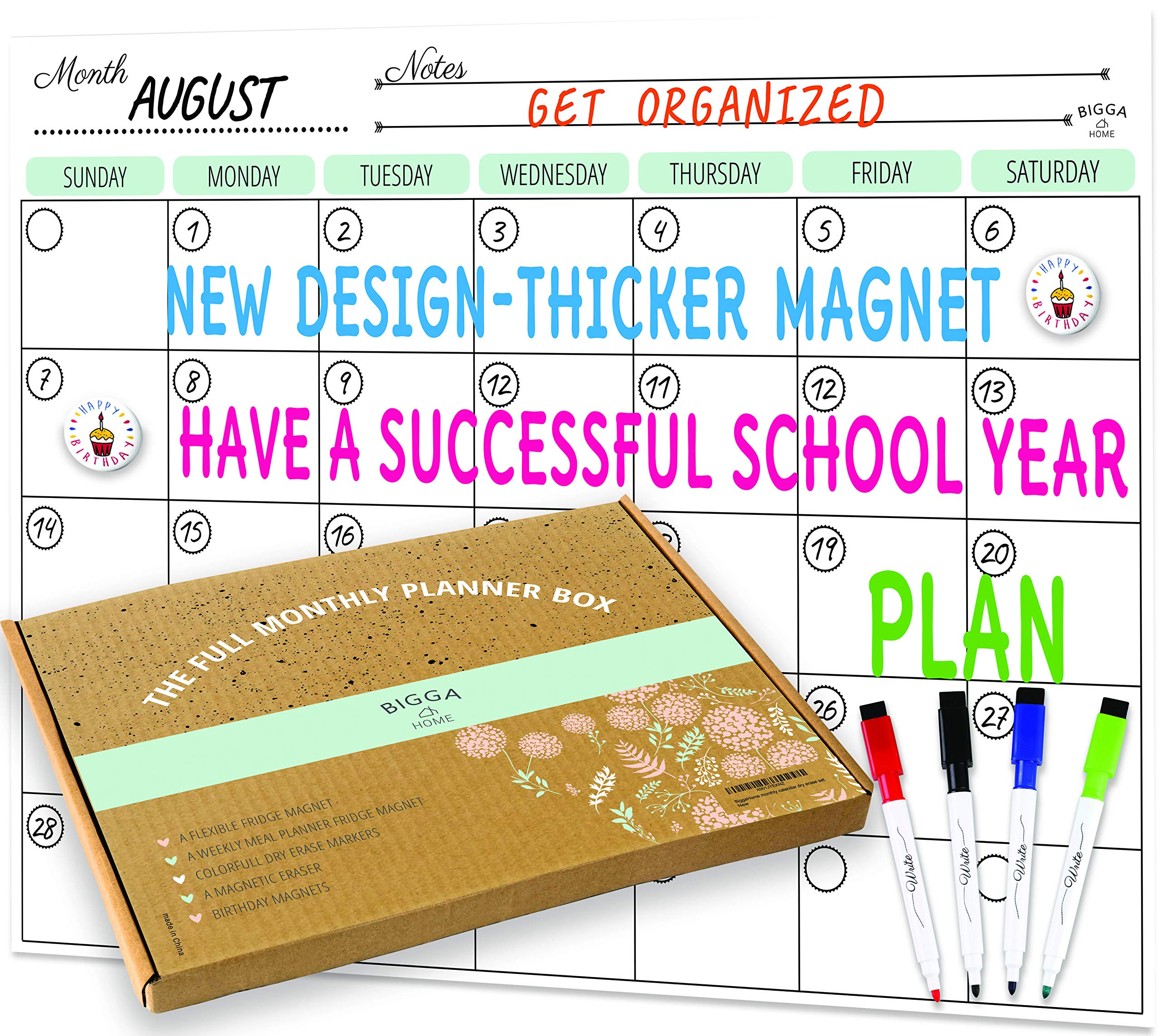 Dry Erase Monthly Magnetic Calendar Planner Set, White Board W/Extra Meal Planner, for Kitchen Refrigerator, Flexible, a Highly Designed Stiff Box for Home or Office. White, 16''x12''. by BIGGAHOME by Bigga Home (Image #1)