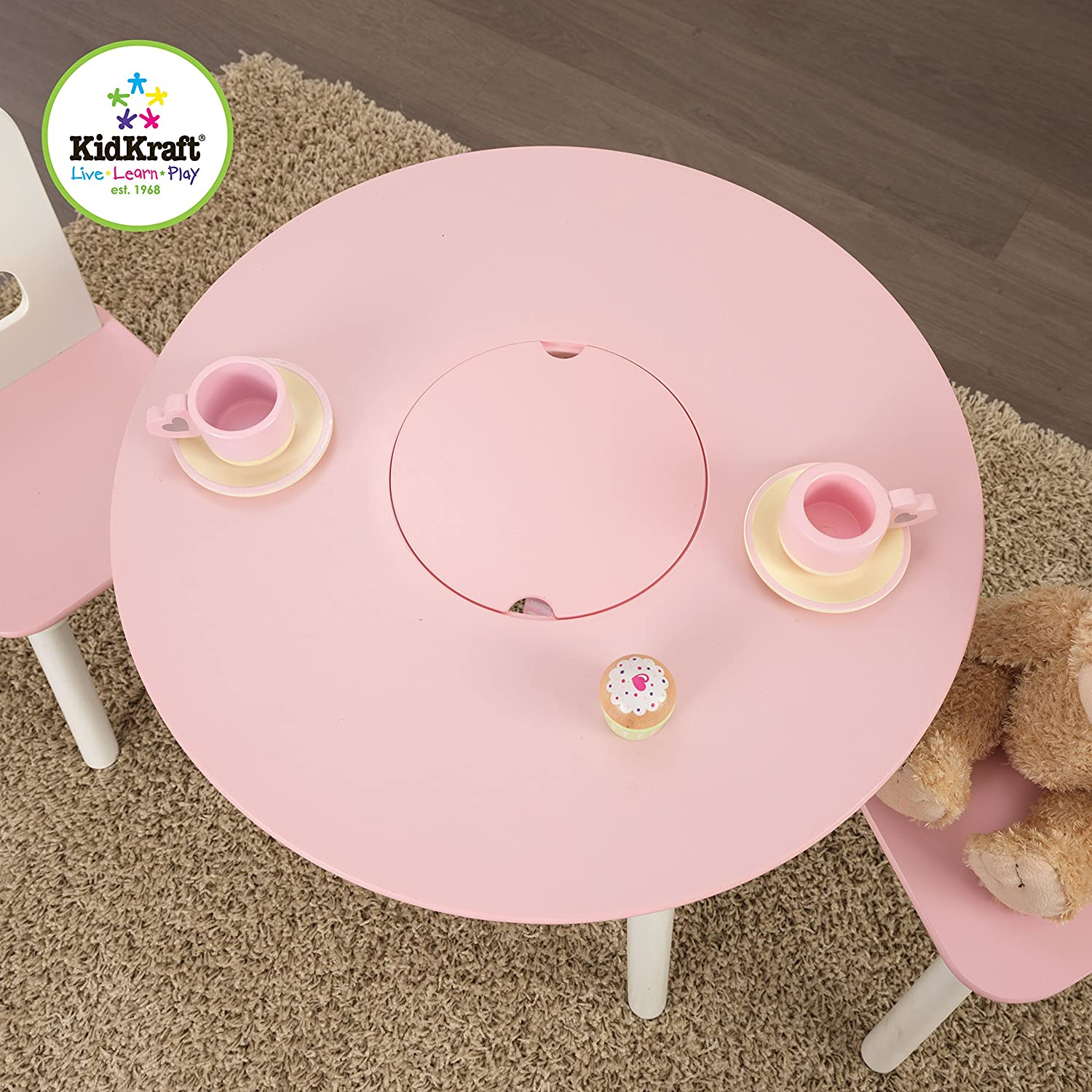 Amazon KidKraft Round Table and 2 Chair Set White Pink Toys