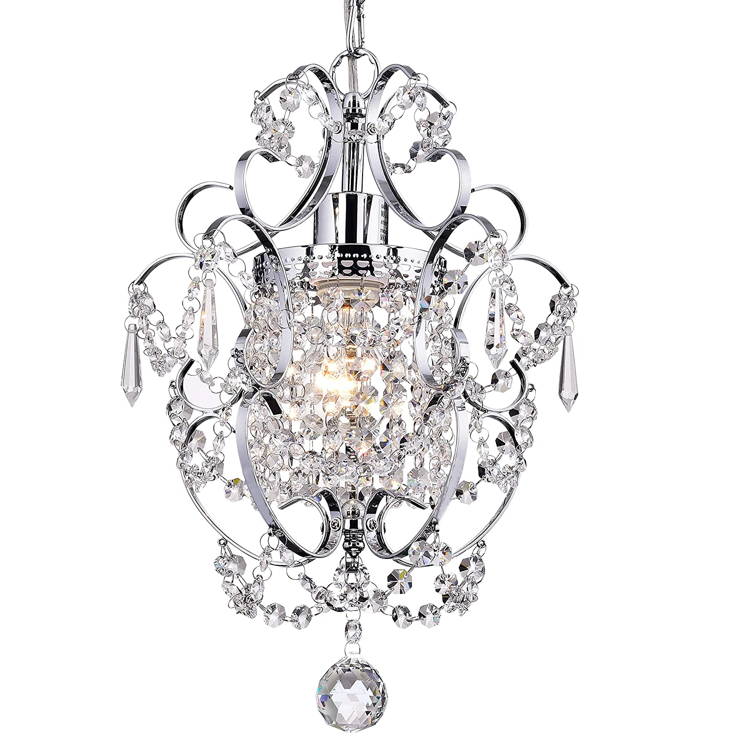 Crystal Mini Chandelier Lighting 1 Light Chrome Chandeliers Iron Ceiling Light Fixture