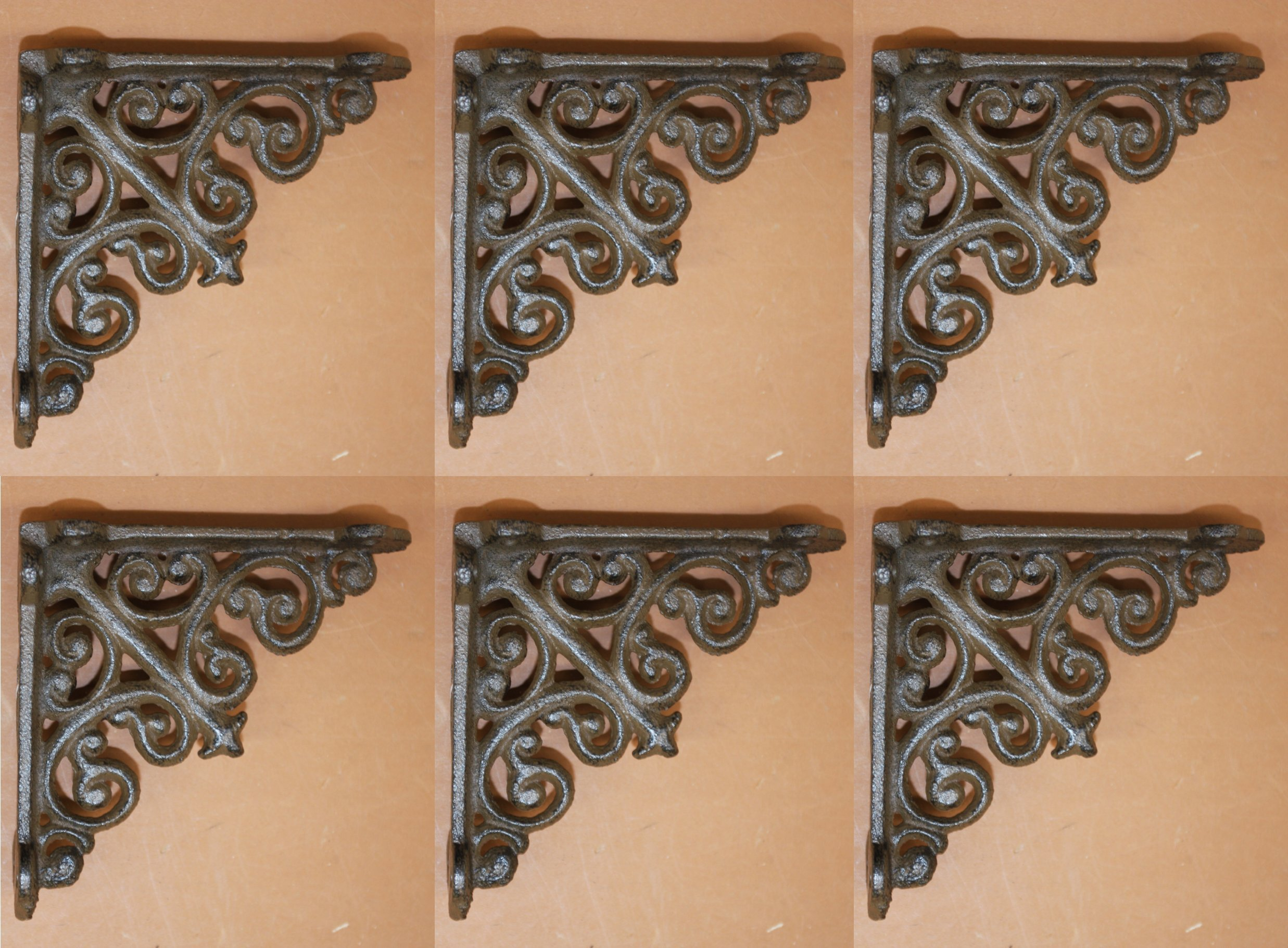 Small Victorian Shelf Brackets Solid Cast Iron, 3 7/8, Set of 6, B-27