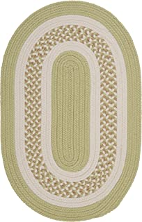 product image for Flowers Bay Oval Area Rug, 2 by 3-Feet, Light Green