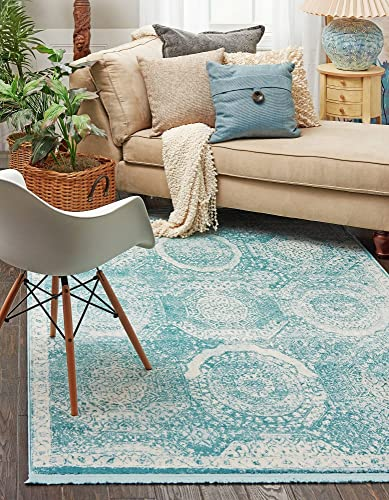 Unique Loom New Classical Collection Traditional Distressed Vintage Classic Blue Area Rug 5 0 x 8 0