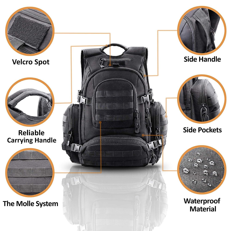 9ce4902006e4 このタクティカルバックパックは丈夫な1000Dナイロン製で、卓越した強度、耐摩耗性、プリーツ保持、断熱性を誇ります。