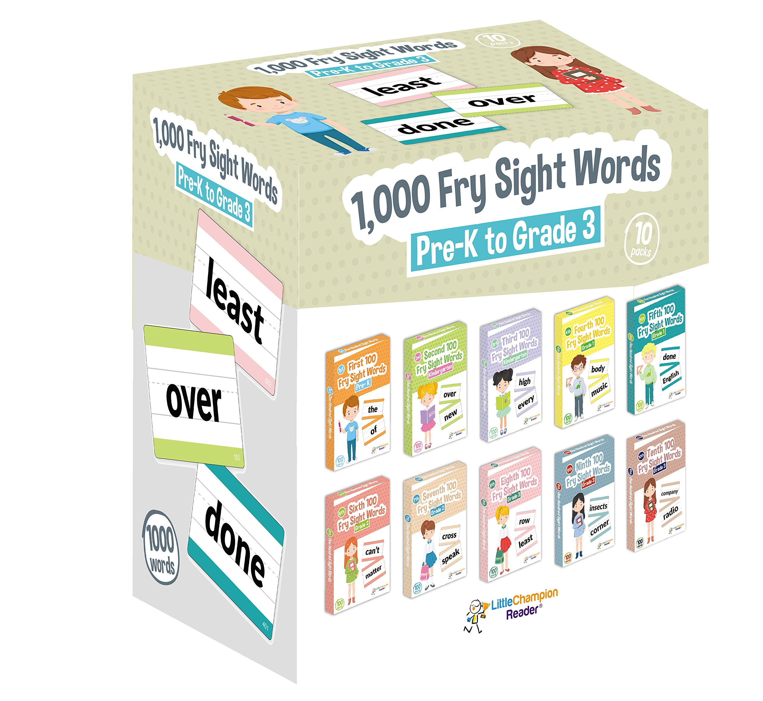 Little Champion Reader 1,000 Sight Fry Dolch Word-List Flashcards in 10-Pack Bundle Set, Pre-K to 3rd Grade, Teaches 1,000 Dolch Fry High-Frequency Sight Words