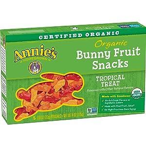 Annie's Gluten Free Organic Bunny Fruit Snacks, Tropical Treat, 5 ct