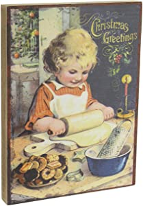 Ohio Wholesale Vintage Style Holiday Art Wood Block Sign (Little Girl Making Christmas Cookies)