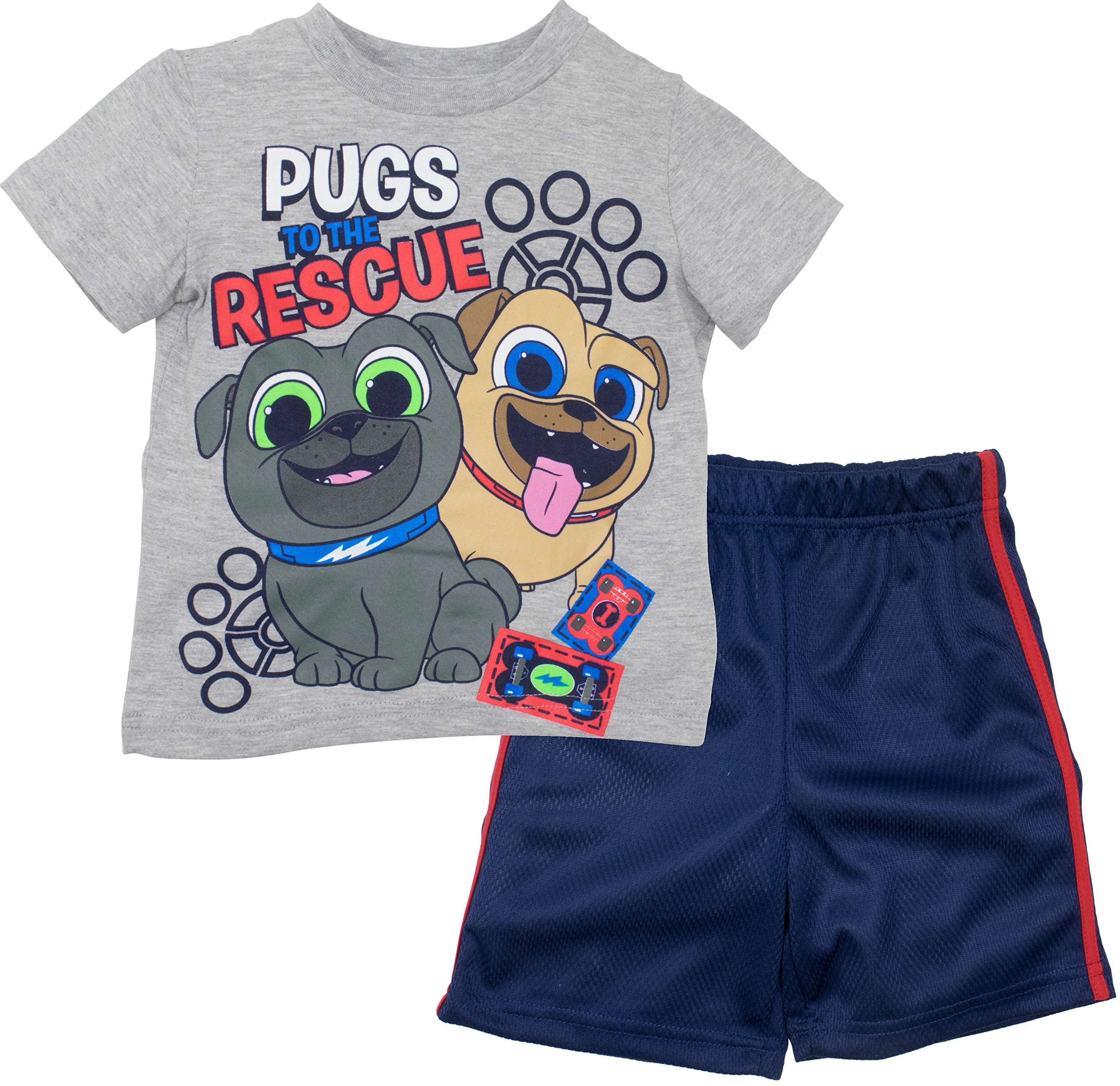 Disney Puppy Dog Pals Rolly Bingo Toddler Boys Tshirt & Mesh Shorts Clothing Set (3T)