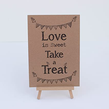 Amazon.com: Candy Sweet Bar Sign Kraft Brown Love Is Sweet ...