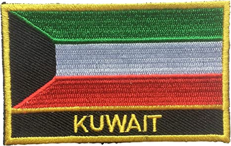 KUWAIT Flag Embroidered Iron-On Patch Military Tactical Emblem Gold  Border