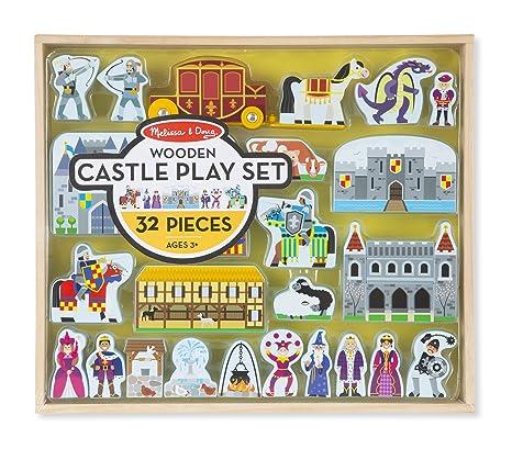 melissa doug wooden castle and kingdom play set 32 blocks multicolor
