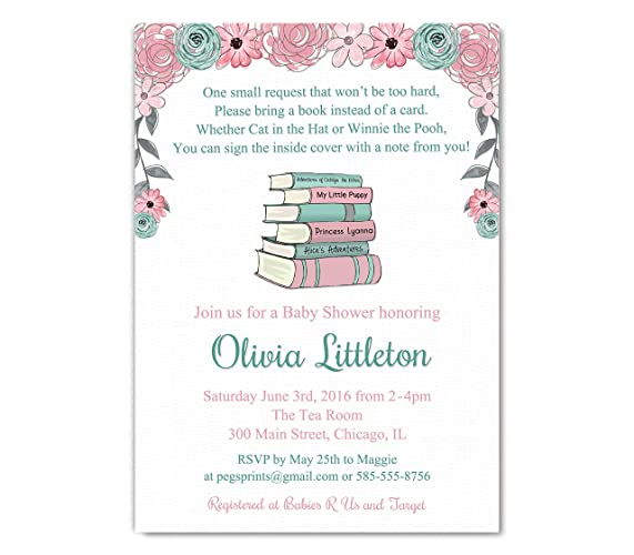 amazon com storybook baby shower invitations girl bring a book