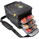 GO Meal Prep Cooler and Travel Bag with 6 Portion Control Bento-style Multi Compartment Containers (3 in the bag and 3 extra) and Ice Pack