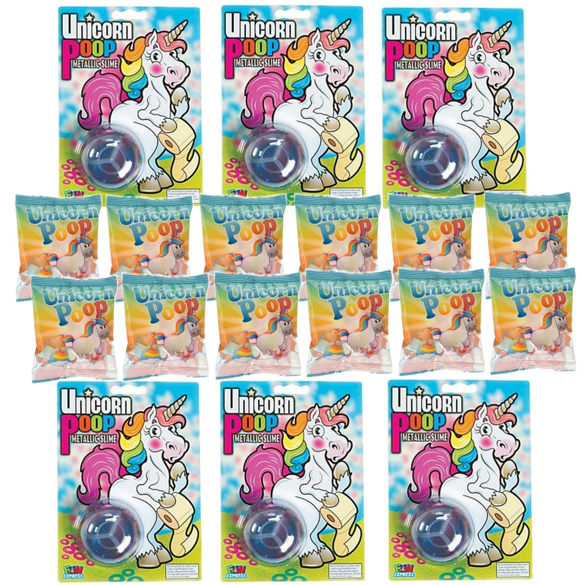 Unicorn Poop Marshmallow Candy Fun Pack (12 packs) + Unicorn Poop Metallic Slime (6 pcs), Unicorn Theme Birthday Party Favor Set, Treats Give Away or Gifts for Loot Bags or for Prizes (18 ct total)