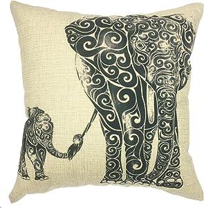 YOUR SMILE Elephant Cotton Linen Square Decorative Throw Pillow Case Cushion Cover 18x18 Inch(44CM44CM) (Color#16)