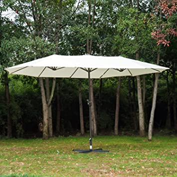 Outsunny 4.6M Patio Double Designed Sun Umbrella Large Garden Parasol Patio  Sun Shade Canopy Market