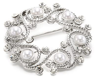 Napier Gift Boxed Silver Tone With Pearl Wreath Brooch