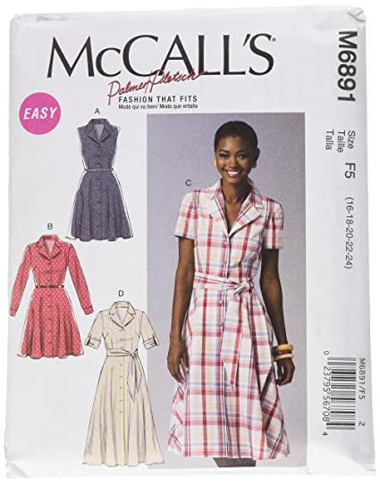 35df2b1bfbc Image Unavailable. Image not available for. Color  McCall Pattern Company  M6891 Misses  Dresses and Sash Sewing Template ...