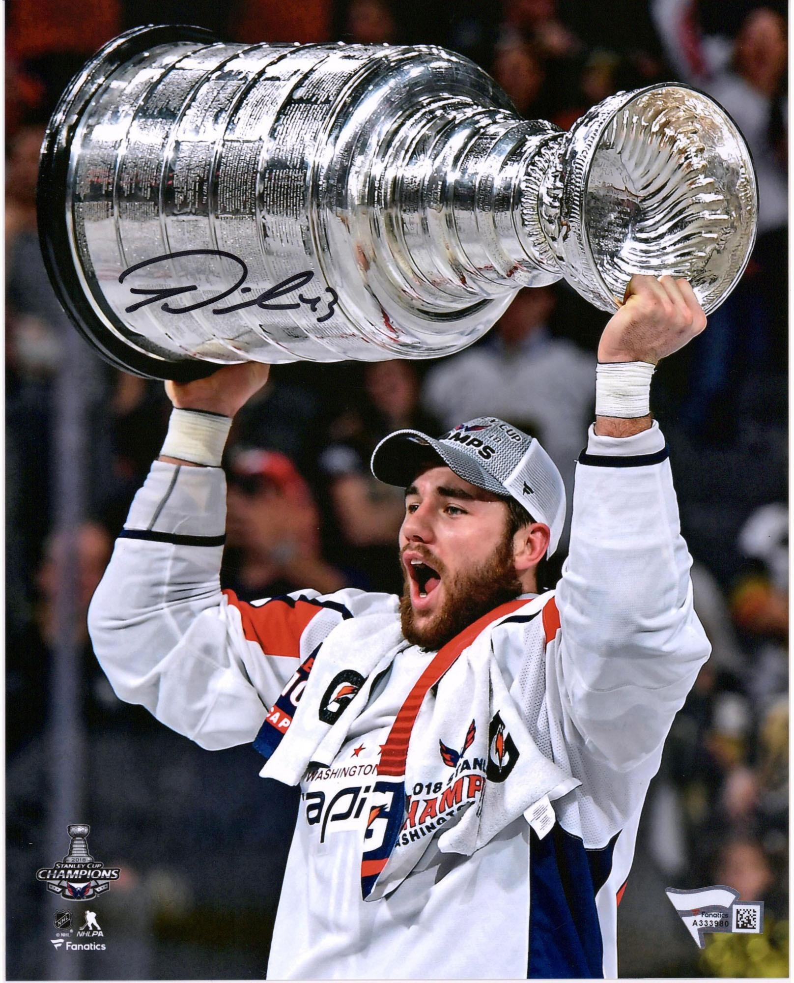 "Tom Wilson Washington Capitals 2018 Stanley Cup Champions Autographed 8"" x 10"" Raising Cup Photograph Fanatics Authentic Certified"
