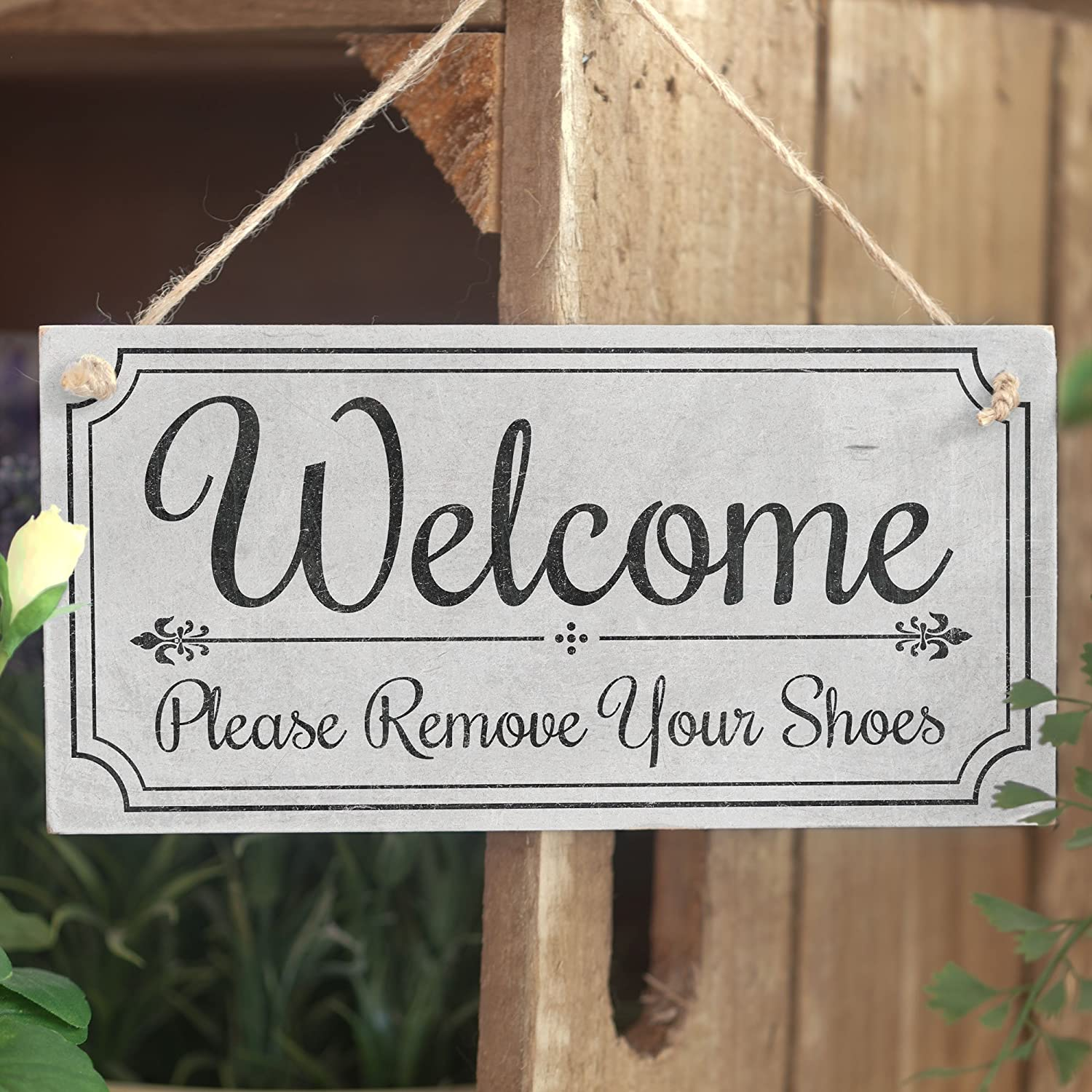 Welcome Please Remove Your Shoes\' - Cute Welcome Sign - Handmade ...