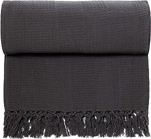 Whisper Organics 100% Organic Cotton Throw Blanket - GOTS Certified (60x80, Dark Grey)